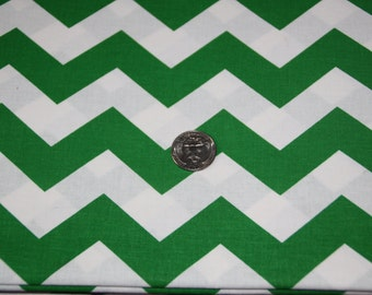 "Imperfect 7/8"" wide CHEVRON - Marshall Dry Goods Fabric - Kelly Green and White"