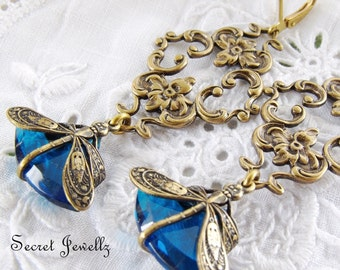 Bohemian Dragonfly Earrings, Brass Filigree Jewelry, Sapphire Blue Glass Chandelier Earrings, Animal Totem Jewellery, Vintage Czech Glass
