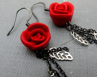 Roses and Vines Cinnebar Earrings // Red Rose Cinnbar Beads // Gunmetal Chain Earrings // Silver Leaves // Gift under 20