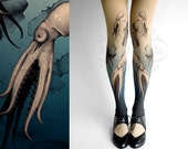 Footless nude color one size Octopuses full length printed tights pantyhose tattoosocks tattootights