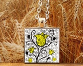 Art Pendant -- Watercolor Painting: Watercolor Flowers - Yellow Flowers -- Scandinavian -- 1 inch square -- Silver