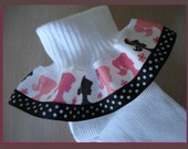 MTM Girl With Ponytail Silhouette Ruffle Socks MTM BARBIE For Pageant Tea Play Princess