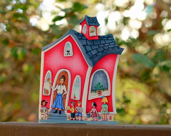 Red SCHOOL House CANDY BOX | Teacher Appreciation Gift | School House Cookie, Candy Box  | Student Party Favor | Teachers Pet Gift |