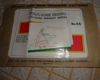 Vintage 1930s Colored Mammy Walkers Hot Iron Embroidery Transfer Pattern