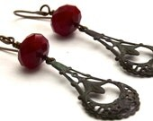 Verdigris Filigree and Red Czech Faceted Rondelle Earrings