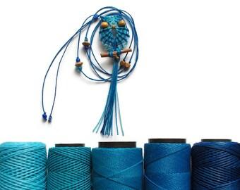 Shades of Blue Macrame Owl Necklace