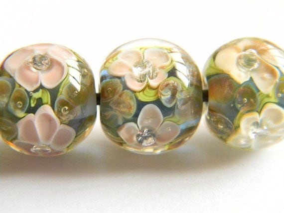 Blue, Terra and Opal Yellow Encased Floral - Lampwork Glass Bead - MADE TO ORDER