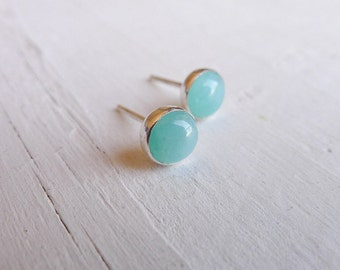 Seafoam Sweet - Amazonite Sterling Post Earrings Seafoam Green Stud Earring Amazonite Jewelry Silver Gemstone Studs Gifts for Her