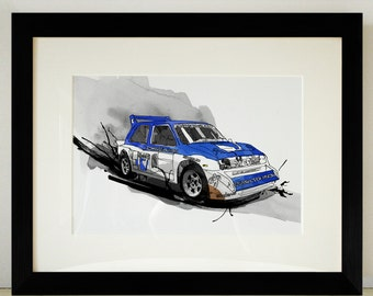 Metro 6R4 Rally Car Illustration