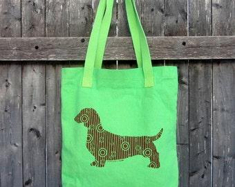 Dotty Doxie Dachshund Tote Bag, Original Art, Hand-dyed