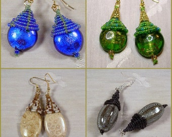 Micro Macrame PATTERN -  Acorn Earrings