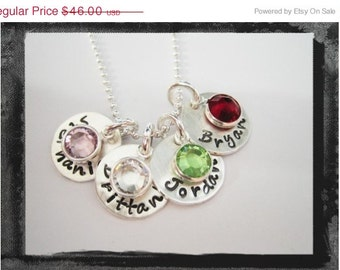 Hand Stamped Charm Necklace with birthstone