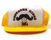 80s Trucker Hat / Vintage Mustache Rides Novelty Ball Cap