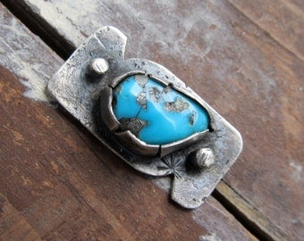 silver RING Silver and Turquoise Ring Riveted Ring Rugged Rustic Silver Jewelry Southwest Style Silver Western Ring western jewelry Size 6.5