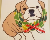 Boris the Bulldog Holiday Christmas Wreath with Red Ribbon Blank Note Card with Envelope