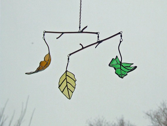 Maple, Oak and Birch Leaf Mobile from Recycled Glass Bottles, Unique Wedding Gift, Anniversary Gift