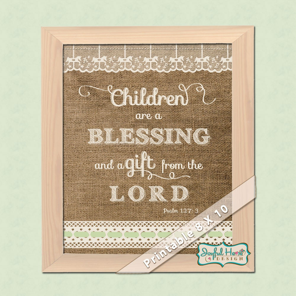 Spiritual Baby Shower Quotes: Burlap & Lace Nursery Art With Bible Verse Rustic By