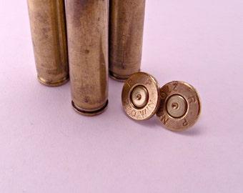 Annie Get Your Gun Recycled Spent Brass Bullet Shell Earrings Pierced
