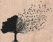 bird rubber stamps stamping rubber stamp plate  Leaves Blowing From Tree  Autumn Fall number 19177 plate Halloween