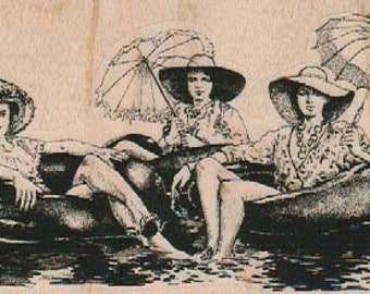 Rubber stamp 3 Women in Tubes summer swim sisters  wood Mounted  scrapbooking supplies number 19182