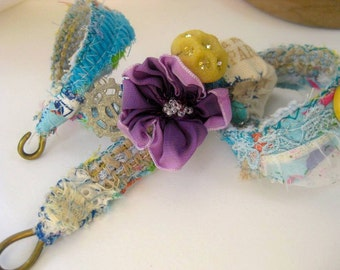 FREE shipping  Boho wrap bracelet  vintage button, lace and trims  handmade one of a kind ooak artisan jewelry