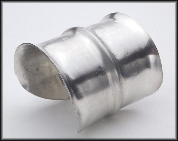 RIALTO - Handforged Foldformed Wide Pewter Cuff Bracelet