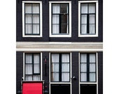 Amsterdam Print, Scandinavian Decor, Travel Poster, Windows, Dutch Architecture, Urban Art, Red Black White Wall Decor  - 1656