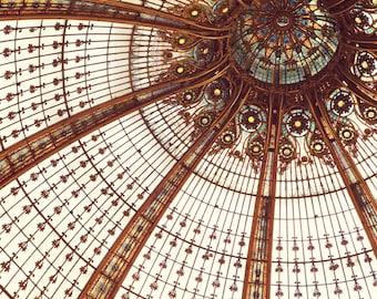 """Paris Architecture Photography, Paris Decor Bedroom, Galeries Lafayette, Art Nouveau Stained Glass, French Art 16x20 """"Splendor"""""""