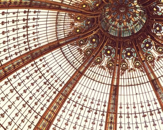 """Paris Art Nouveau, Paris Photography, Copper Paris Ceiling, Galeries Lafayette, Stained Glass, Paris Print, French Decor """"Splendor"""""""