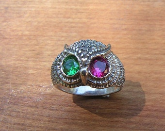 Sterling Silver Owl Ring With Emerald And Ruby Eyes