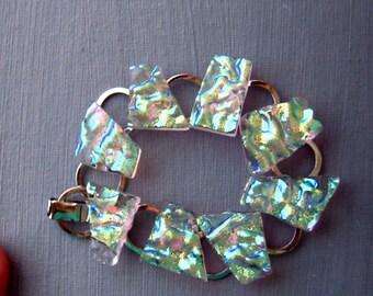 Fused Glass Link Bracelet, Holiday Bracelet, Crystal Glass Dichroic Fused Glass Bracelet ,  Fused Glass Link Bracelet , Crystal Rainbow
