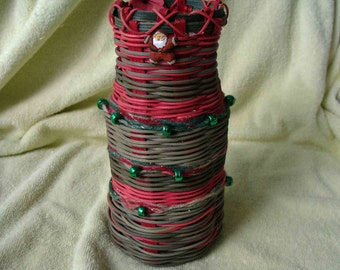 Glass Vase with Christmas woven around the vase - ready for flowers