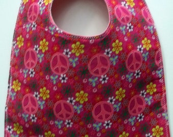 Toddler Bib:  Pink Peace Signs Flowers Girl Bib Baby Bib
