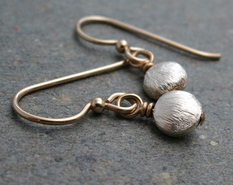Silver and Gold Earrings Minimalist Petite Mixed Metals Holiday Jewelry Beaded Drop Earrings