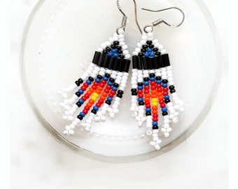 snow fall - small seed bead earrings - white, blue, black, red, yellow