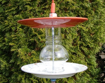 Recycled Plate Bird Feeder-Garden Art-Orange and Blue