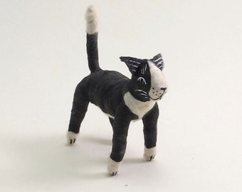 Vintage Style Spun Cotton Black and White Tuxedo Cat Figure/Ornament