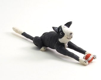 Vintage Style Spun Cotton Black and White Tuxedo Cat With Ball Figure/Ornament