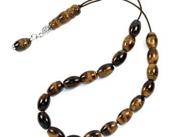 Worry Beads Greek Komboloi - Tiger's Eye gemstone Rice Shape