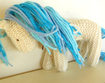 Ocean Earth Pony, Waldorf Toy, Stuffed Animal Horse, Eco Kids Toy, HandKnit, All Natural Childrens Toy