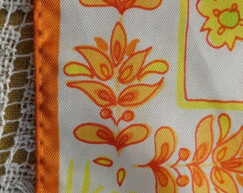 Vintage 60s Vera Neumann Japan Orange Floral Scarf