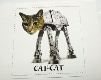 Star Wars Cat-Cat cat card. AT-AT reference