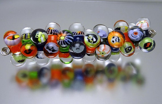 Loribeads - Halloween Jacks 1- SRA handmade glass lampwork beads