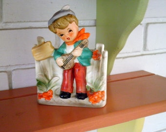 Vintage Ceramic Country Boy Playing Guitar Flower Pot / Planter / Vase - Made in Japan - Circa 1960s