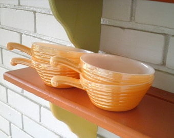 Vintage Fire King Peach Luster Lusterware Cereal / Chile Bowls - Set of 4 - Circa 1950s