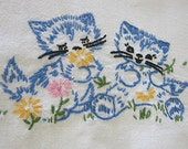 Vintage Table Runner or Scarf, Hand Embroidered
