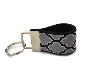 Black and Gray Quatrefoil Fabric  Key Chain
