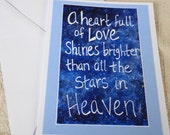 Heaven, Stars and Cosmic Love Art Greeting Card - 5x6.5 inch Quote Art with White Envelope