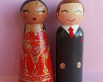 Hand Painted Love Boxes Custom Indian Wedding Bride and Groom Cake Topper Doll Wood
