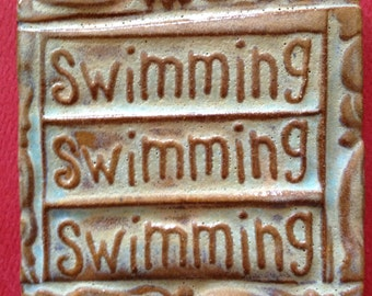 Swimming swimming swimming handmade earthenware tile